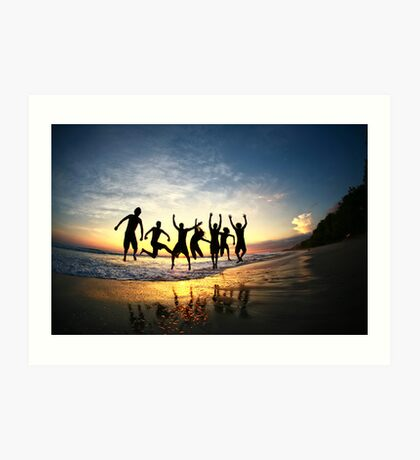 Group of Friends Jumping on Beach at Sunset Art Print