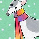 Greyhound Wearing Rainbow Scarf in the Snow by Zoe Lathey