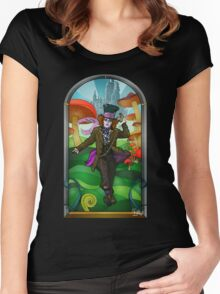 Mad Hatter Stained Glass Women's Fitted Scoop T-Shirt