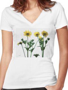 Wild Sunflowers Women's Fitted V-Neck T-Shirt