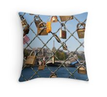 Love Padlocks in Paris Throw Pillow