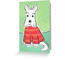 Scotty Dog in Red Christmas Jumper Greeting Card