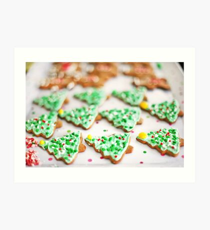 Frosted Christmas Tree Cookies with Sprinkles Art Print