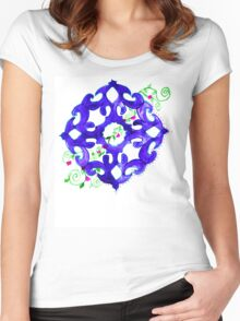 ethnic ornament blue Women's Fitted Scoop T-Shirt