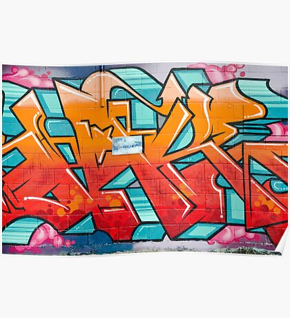 Colorful Abstract Graffiti detail on the textured wall Poster