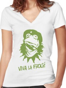 Viva la Frog! Women's Fitted V-Neck T-Shirt