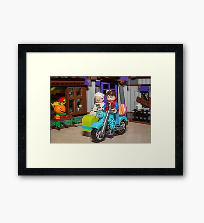 Marty and Doc ride Framed Print