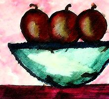 Apples in and old bowl, watercolor by Anna  Lewis