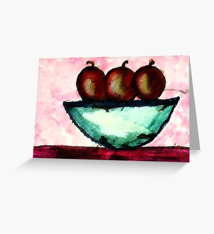 Apples in and old bowl, watercolor Greeting Card