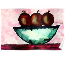 Apples in and old bowl, watercolor Poster