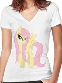 Wet Mane Fluttershy Women's Fitted V-Neck T-Shirt