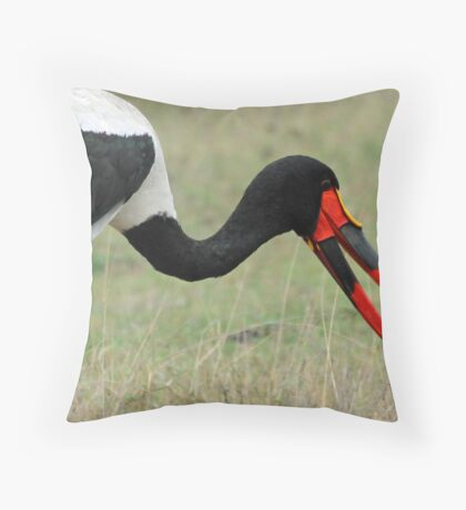 Saddle bill stork with its catch Throw Pillow