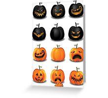 Black and Orange Jack 'o Lanterns Greeting Card
