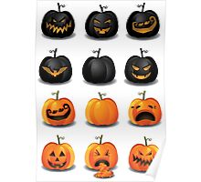 Black and Orange Jack 'o Lanterns Poster
