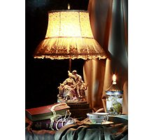 Lamp and Books Photographic Print