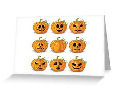 Orange stylized Jack O' Lanterns for Halloween or whenever Greeting Card