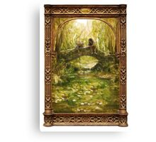 Two friends sitting by a river Canvas Print