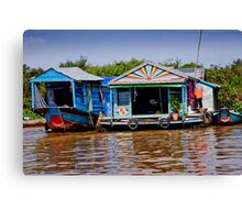 Colorful House Boats Canvas Print
