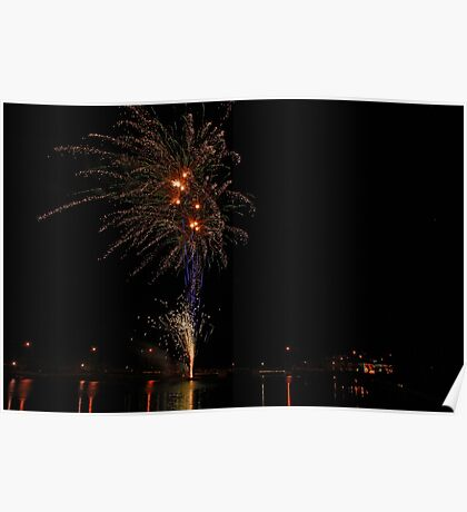 Christmas Fireworks by the Lake Poster