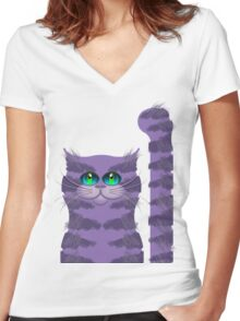 CARLOS THE CAT Women's Fitted V-Neck T-Shirt