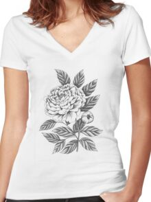 Peony Women's Fitted V-Neck T-Shirt