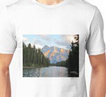 Sunset at Minnewanka Lake, Canadian Rockies, Alberta, Canada Unisex T-Shirt
