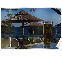 Beach Umbrellas & Mythos Beer Poster