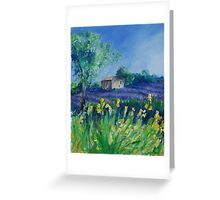 Lavender Field With Yellow Flowers painting Greeting Card