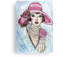 Flapper In A Pink Hat Canvas Print
