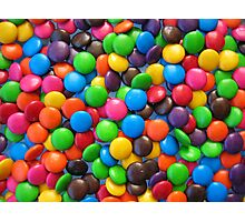 Smarties on a glass table Photographic Print