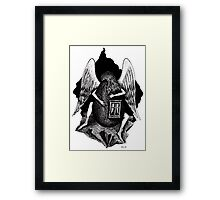 Angel with Egg surreal black and white pen ink drawing Framed Print