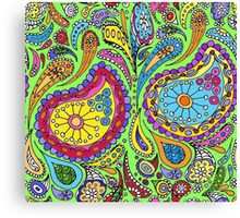 Lime Bright Paisley Canvas Print