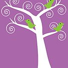 5 green birds and a tree (purple background) by ValeriesGallery