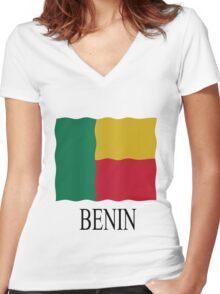 Benin flag Women's Fitted V-Neck T-Shirt