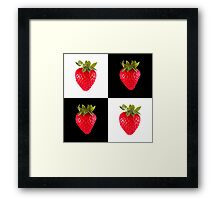 White & Black - Strawberries Framed Print