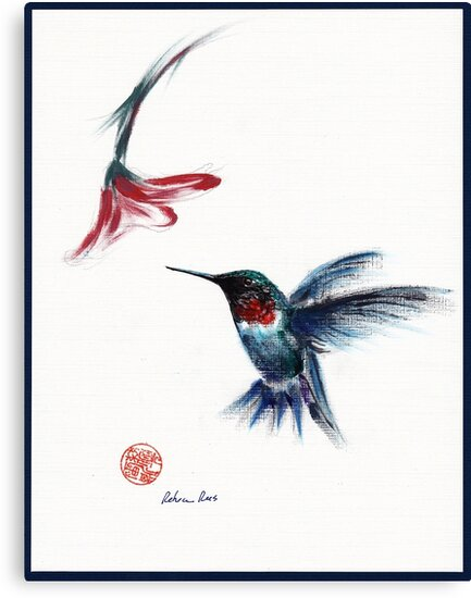 ANGEL - hummingbird & flower painting/drawing by Rebecca Rees