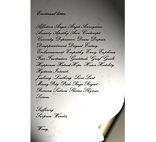 The Emotional Letter Photographic Print