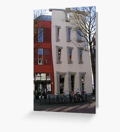 Creative architecture and pink saddles Greeting Card