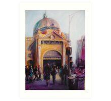 Morning bustle Flinders street Station Melbourne Art Print