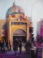 Morning bustle Flinders street Station Melbourne by Ivana Pinaffo