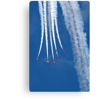 The Red Arrows descend and split out Canvas Print