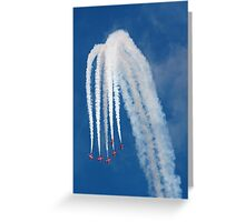 The Red Arrows downwards formation Greeting Card