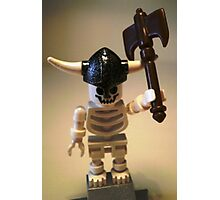 White Skeleton Viking and Custom Axe, Custom Minifigure Photographic Print