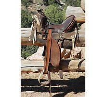 Saddle on Ranch Fence  Photographic Print