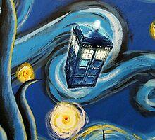 Blue Tardis Starry Night by davinciart
