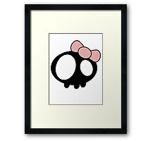 Kawaii Skull - Pink Ribbon Framed Print
