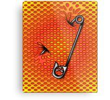 Sookie Skull Safety Pin Orange and Yellow Metal Print