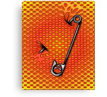 Sookie Skull Safety Pin Orange and Yellow Canvas Print