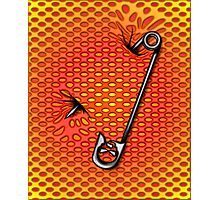 Sookie Skull Safety Pin Orange and Yellow Photographic Print