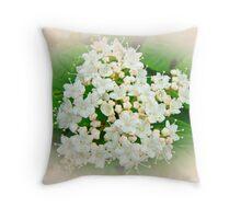 White and Cream Hydrangea Blossoms Throw Pillow